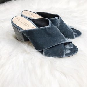 Sole Society Luella Cloud Blue Mules Womens Sz 7.5